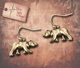 Earrings with Western Bear - Burnished Silver