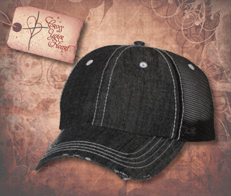 Denim Contrast Stitch Trucker Cap - Black