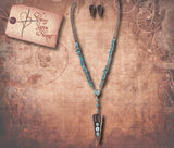 Faux Gem Arrowhead Necklace Set - Antique Copper