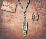 Faux Gem Arrowhead Necklace Set - Antique Silver