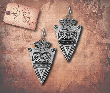 Arrowhead with Thunder Bird Earrings - Burnished Silver