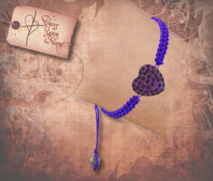 Crystal Heart Braid Bracelet - Purple