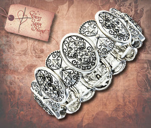 Filigree Cross Antique Silver Bracelet