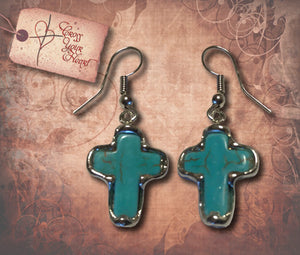 Silver Framed Turquoise Cross Earrings