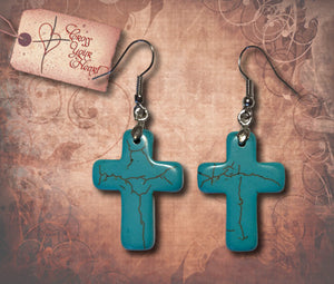 Turquoise Cross Drop Earrings