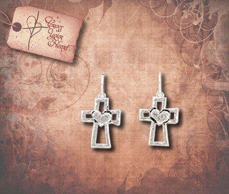 Hammered Cross with Heart Earrings - Silver