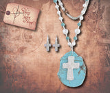Semi Precious Stone Long Necklace Set - Silver & Turquoise
