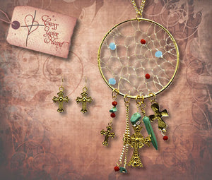 Dream Catcher and Crosses Long Necklace and Earrings Set - Gold