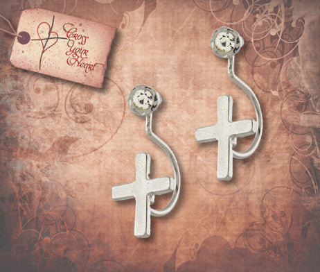 Curved Cross and Crystal Earrings - Silver