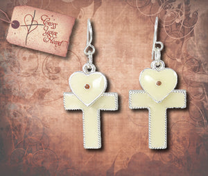 Cross & Heart Earrings with Mustard Seeds - Silver