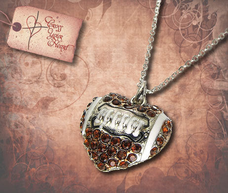Rhinestone Heart Football Necklace