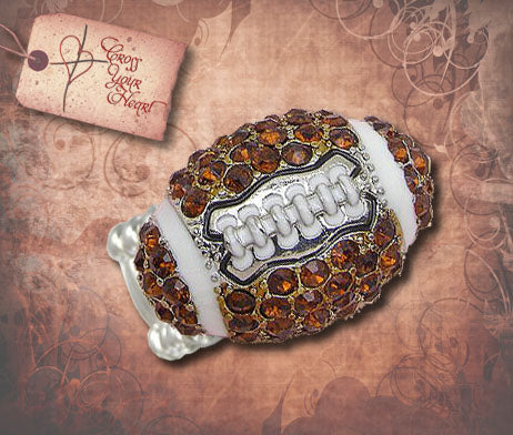 Brown Crystal Football Stretch Ring - Silver