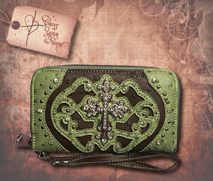 Clutch Wallet with Detachable Strap - Green & Brown
