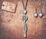 Tribal Ornate Tassel Drop Necklace Set - Clear Crystal