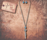 Tribal Ornate Tassel Drop Necklace Set - Aqua Crystal