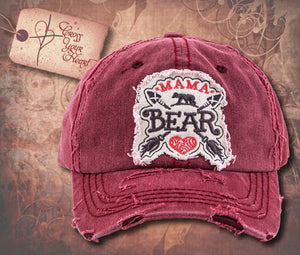 Cap with MAMA BEAR - Burgundy