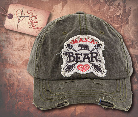 Cap with MAMA BEAR - Olive Green