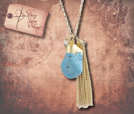 Natural Stone Pendant Necklace - Turquoise & Gold
