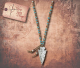 Semi Precious Stone Arrowhead Necklace - Silver & White