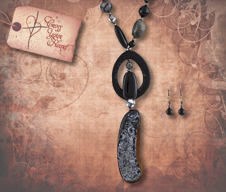 Earth Tone Gem Stone Link Necklace Set - Black Agate
