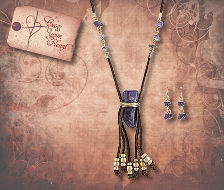 Natural Stone Tassel Pendant Necklace - Purple