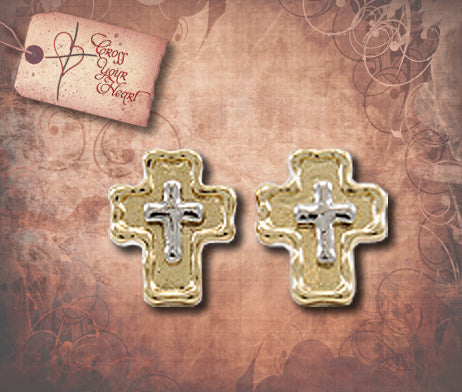 Double Cross Post Earrings - Gold with Silver
