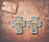 Double Cross Post Earrings - Silver with Gold