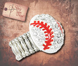 Rhinestone Baseball Stretch Ring - Silver