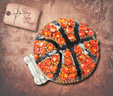 Amber Crystal Basketball Stretch Ring - Silver