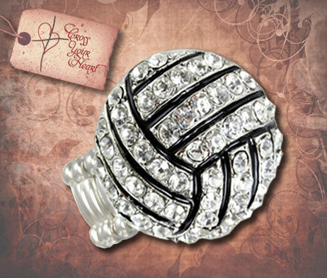 Rhinestone Volleyball Stretch Ring - Silver