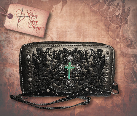 Clutch Wallet with Detachable Strap - Black