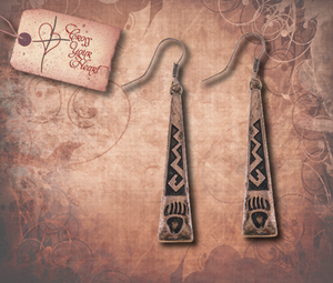 Tribal Bear Claw Etched Earrings - Antique Copper