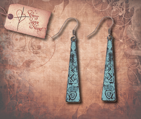 Tribal Bear Claw Etched Earrings - Patina
