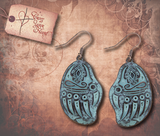 Tribal Etched Bear Claw Earrings - Patina