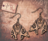 Tribal Etched Bear Earrings - Antique Copper