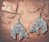 Tribal Etched Bear Earrings - Antique Gold