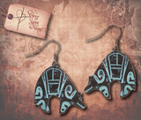 Tribal Etched Bear Earrings - Antique Silver
