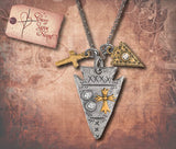 Etched Arrowhead Charm Necklace - Silver/Gold