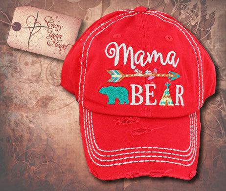 Cap with Mama BEAR - Red
