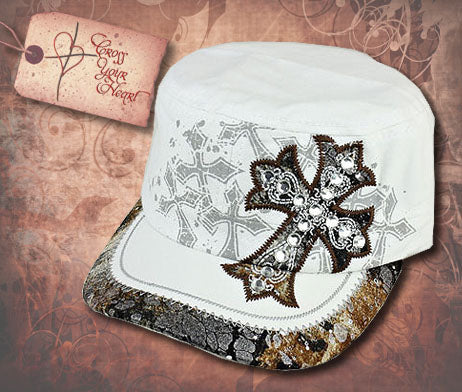 Cap with Rhinestone Cross - White
