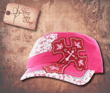 Cap with Cross - Children's Pink