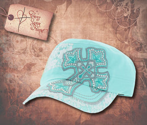 Cap with Cross - Children's Turquoise