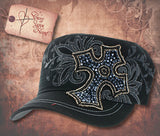 Cap with Jeweled Cross - Navy