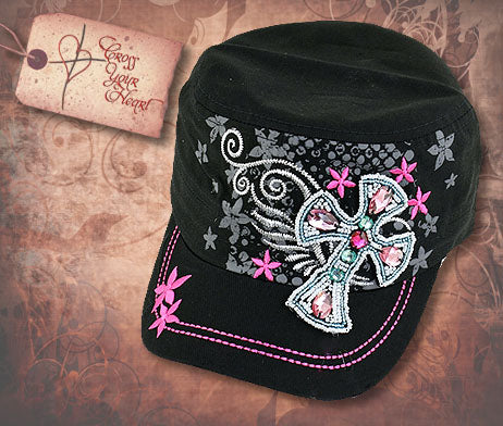 Cap with Jeweled Cross - Black