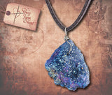 Druzy Stone Pendant Necklace - Blue