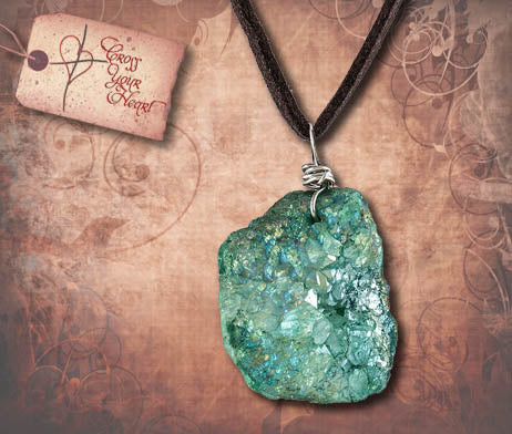 Druzy Stone Pendant Necklace - Green