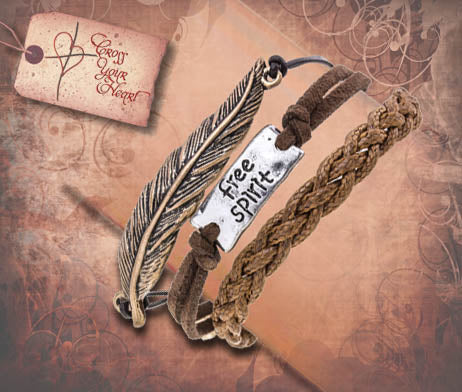 FREE SPIRIT Metal Feather Layer Bracelet