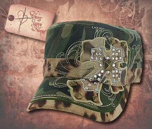 Cap with Rhinestone Cross - Green Camo