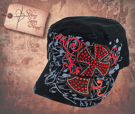 Cap with Red Jeweled Cross - Black