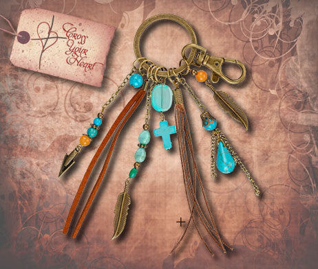 Oxidized Brass Dangle Key Ring